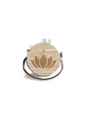 Lotuscrafts Stainless Steel μπουκάλι με καπάκι bamboo - block print